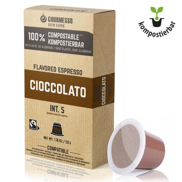Capsule Gourmesso – Eco Line - Cioccolato – Bio – compatibile Nespresso – 10 capsule