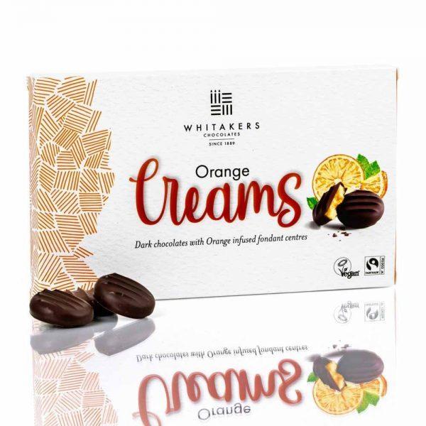 Cutie cu ciocolată Whitakers – Ciocolată neagră cu cremă fondant cu portocale