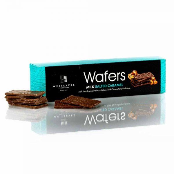 Cutie cu ciocolată Whitakers - Wafer Thins cu caramel săratCutie cu ciocolată Whitakers - Wafer Thins cu caramel sărat
