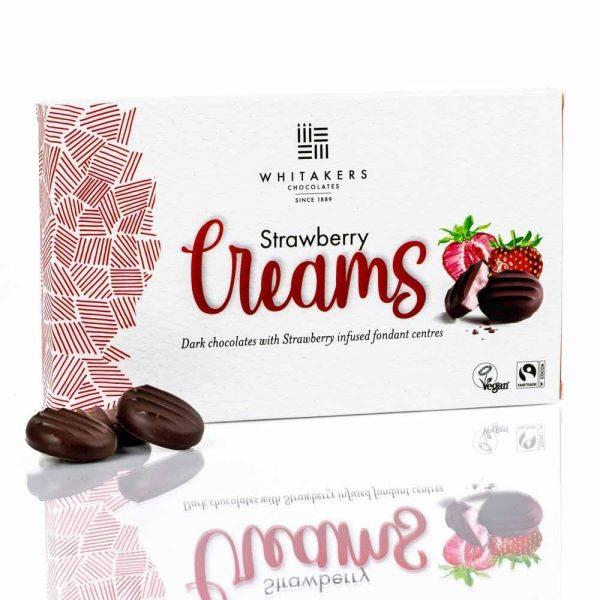 Cutie cu ciocolată Whitakers – Ciocolată neagră cu cremă fondant cu căpșuni