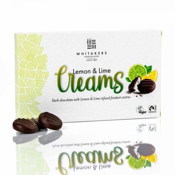 Cutie cu ciocolată Whitakers – Ciocolată neagră cu cremă fondant cu lămâie și lămâie verde