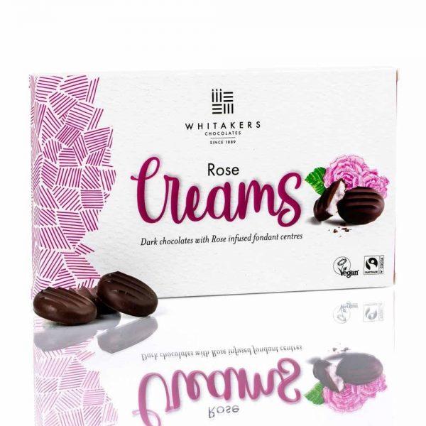 Cutie cu ciocolată Whitakers – Ciocolată neagră cu cremă fondant cu trandafiri