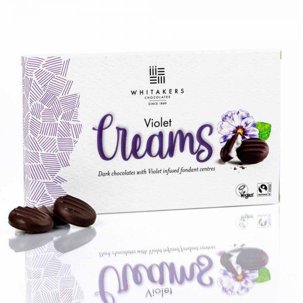 Cutie cu ciocolată Whitakers – Ciocolată neagră cu cremă fondant cu violete